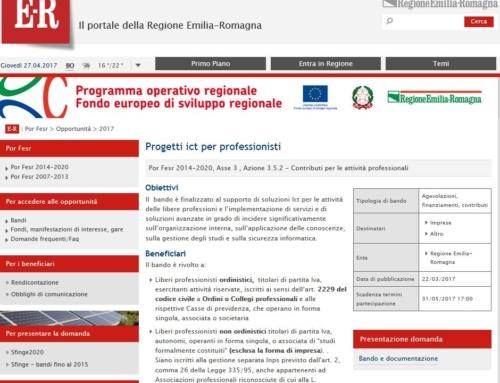Bando della Regione Emilia Romagna: progetti ict per professionisti