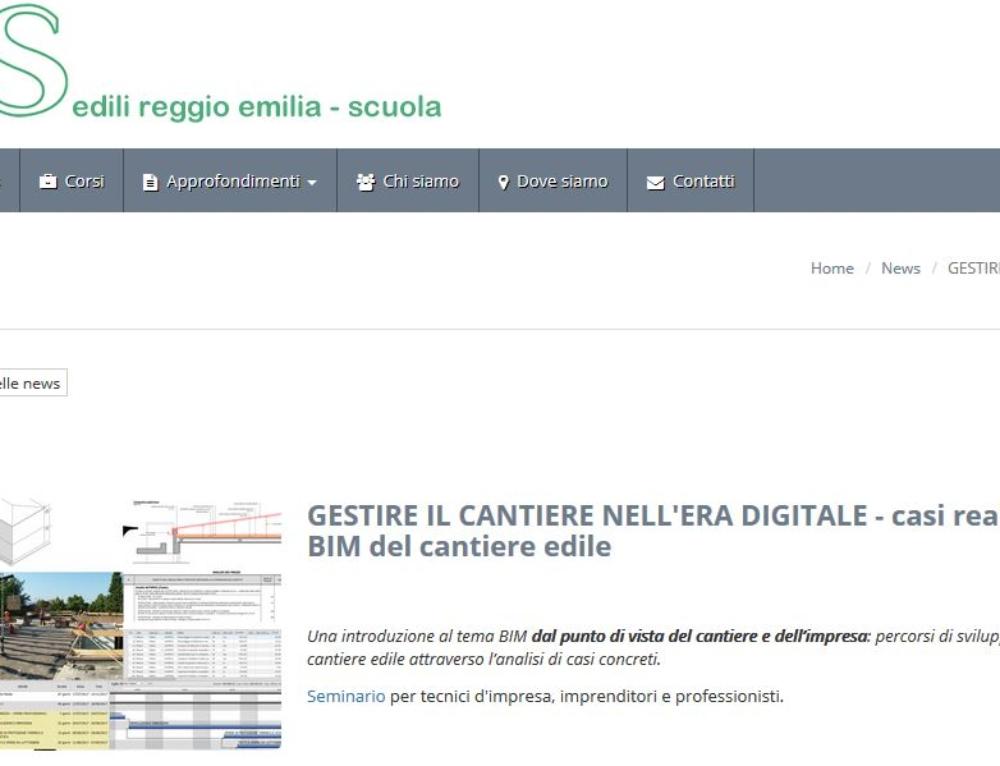 GESTIRE IL CANTIERE NELL'ERA DIGITALE: Esperienze, prospettive e opportunità- Scuola Edile di Reggio Emilia